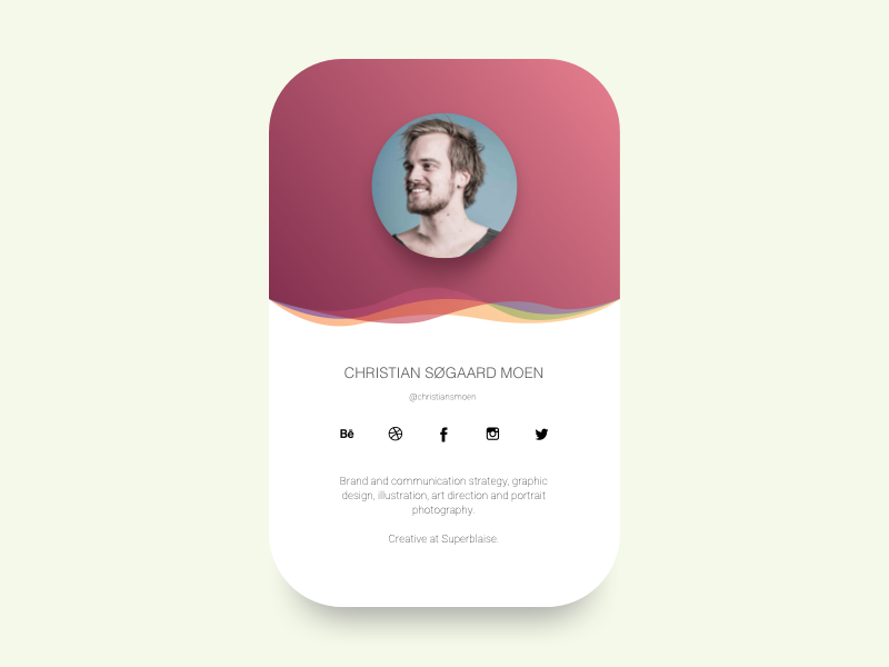 profile card ui by christian s u00f8gaard moen
