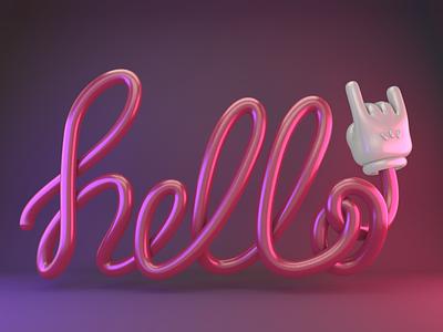 Hello Dribbble dark pink dark plastic glow in the dark welcome shot dribbble pink 3d typography 3d hand illustration design typography c4d cinema 4d hello hello dribbble