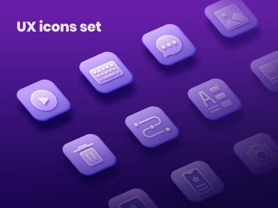UX Icons Set gradient icons mobile desktop flow style picture message chat keyboard play freebieicon freebie icons icons design icons pack icons set iconography