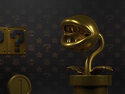 Nintendo Luxury Iconic Reel: Piranha Plant piranha plant fancy dasign golden luxury branding luxury brand dark 3d super mario lighting nintendo character design render cinema 4d c4d dribbble