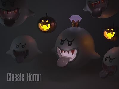 Spooky Boo Night: classic horror dark characterdesign arnoldrender maxon c4d pumpkin nintendocharacters nintendo jackolantern boo ghost halloweencharacters halloween horror movie horror spooky designsomethingspooky dribble dribbbleweeklywarmup