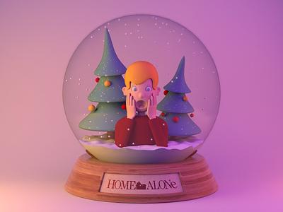 Home Alone 30th Anniversary dribbbleshot maxon christmasmood snowgloberender christmas2020 arnoldrender lighting 3d render character design cinema 4d c4d dribbble christmasmovie homealone snowglobe