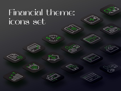 Financial Icons Set icons design business banking dashboard banking app banking finance icons pack iconography icons set icons