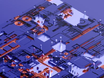 JSplacement Circuit v.1.0. arnoldrender 3dscifi 3dprocessing microscheme motherboard futureform jsart jsplacement sci-fi scifi maxon cinema 4d c4d