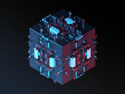 Sci-Fi Cube render dark isometric art isometric3d 3dspace dribbble3d maxonc4d sci-fi cube sci-fi surface sci-fi arnold render cinema 4d c4d