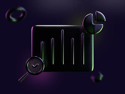 3D icon: Analytics dribbbler dark theme dark glowing search bar chart pie chart reflective arnold render analytics 3d icon set 3d icon 3d illustration render maxon cinema 4d c4d