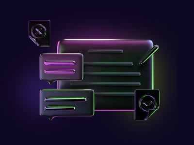 3D icon: discussion 3d icon set maxon arnold render c4d cinema4d reflective glowing dark theme ideation discussion sticky note chat 3d icon 3d illustration