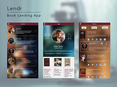 Lendr - book lending app concept application ui interface user interface ux mobile star wars app