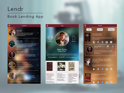 Lendr - book lending app concept application ui interface user interface ux mobile star wars app