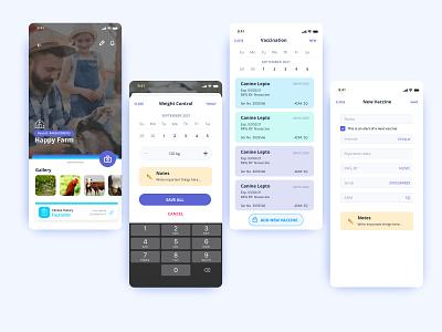 Animals control app clean minimal tables form design mobile web appdesign ux ui