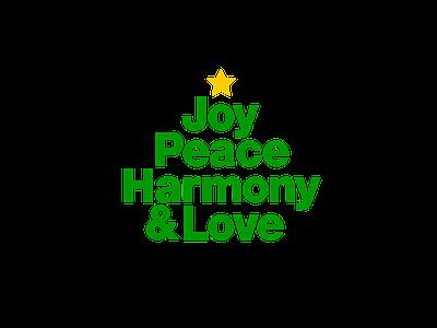 Joy, Peace, Harmony & Love christmas tree xmas tree minimalism typography christmas card christmas harmony love peace joy xmas card xmas