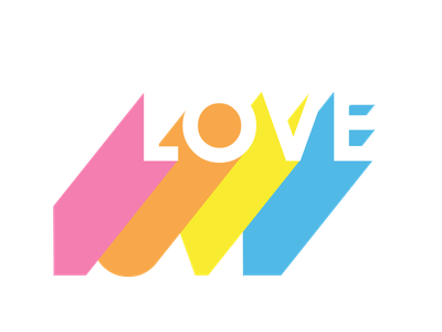 Love - rainbow pop bright colourful colorful colour color 80s retro poptype 3dtype pop rainbow love