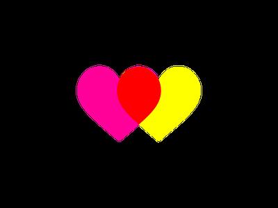 Love hearts (pink & yellow) artmemos minimal simple in love bright pop art pop magenta pink heart love hearts love