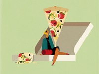 $1 PIZZA fashion illustration food character design travelling nyc pizza box