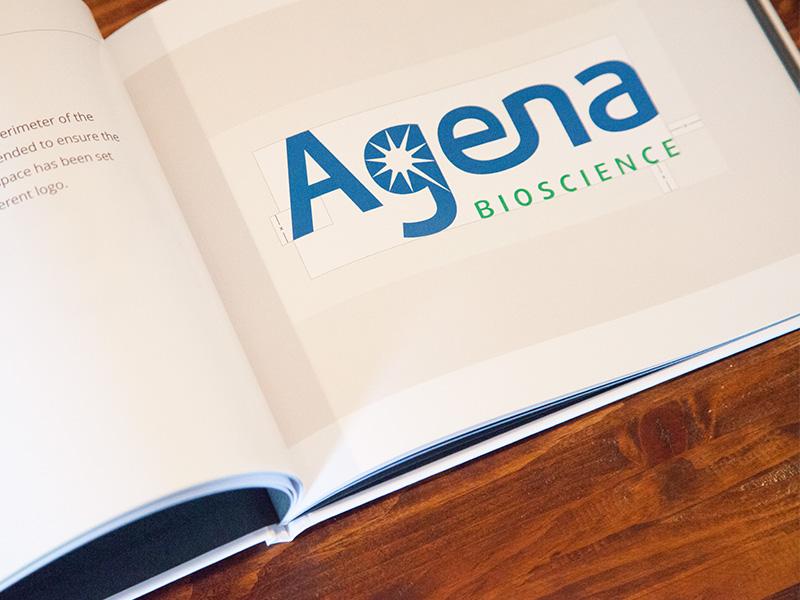 Agena Bioscience Brand Guide brand guide logo identity typography font photography print design book print branding