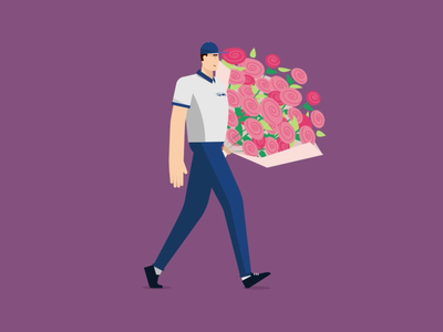 Special Delivery walk roses character animation character design walking cycle illustration motion design motion graphics motion animento animation
