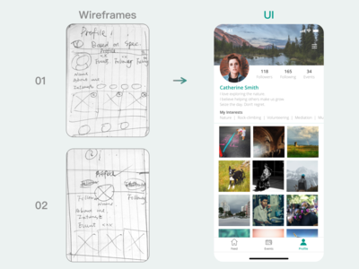 Social Media Profile Page wireframing wireframe userexperiance userexperience dailyui uxdesign userflow mobiledesign appdesign sketch ux ui design app