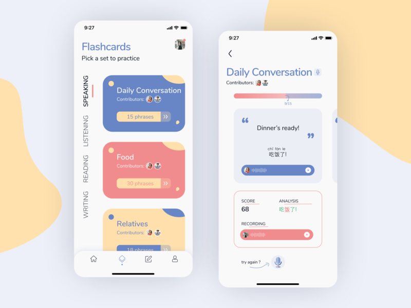 Language Learning App UI Design mobiledesign ios userexperience uxdesign scorecard course design immigration uidesign flashcards flashcard language learning language