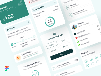 UI Components for Student App minimalistic timeline iconinapp swtichlanguage contactcard figmadesign components uicomponents uicomponent reward card rewards student student app iosapp mobileappdesign