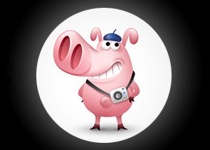a cameraman pig