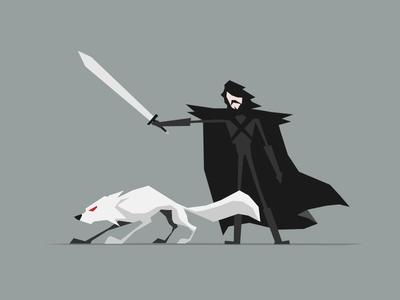 Jon & Ghost character minimal angular shapes illustration design got ghost direwolf game of thrones jon snow