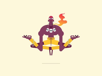 Yoga Flame vector character design illustration capcom dhalsim street fighter video game