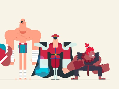 Street Fighter Lineup 3 of 3 vector character design illustration capcom street fighter video game animation gif loop animated gif