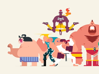 Street Fighter Lineup 1 of 3 vector character design illustration capcom street fighter video game animation gif loop animated gif
