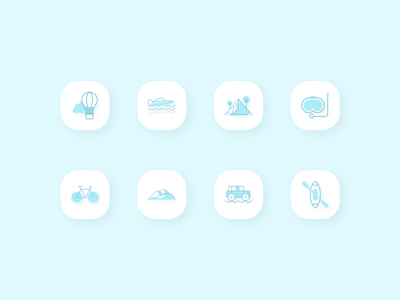 Discover - Travel icons turquoise green kayak cycling surfing branding travel icon 3d icon 3d 2d logo clean typography travel app travel modern minimal design flat
