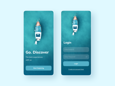 Discover - Onboard onboarding turqoise app ui 3d 2d style globe clean branding typography travel app travel modern minimal flat
