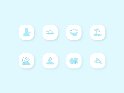 Discover - Travel Icons II 2d art forest elephant beach lake sunset typography turqoise travel icon travel app travel modern minimal logo style clean branding 3d icon 3d 2d