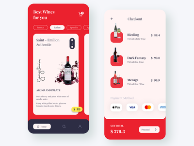 FineWine - Wine App clean modern minimal 3d 2d onlinefood drink red food and drink food app food order wine label drinks wine bottle wine glass winery wine