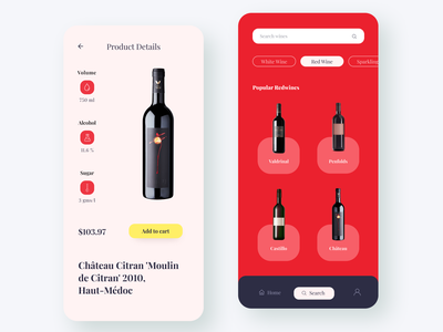 FineWine - Wine App minimal 3d 2d online food drink menu food and drink food app ui food app product details product page red grapes wine bottle wine app wine label winery wine