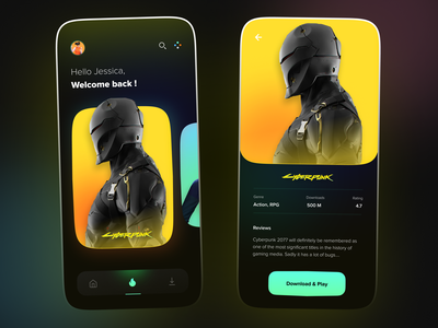 Gamr - Game Store games design appdesign app clean 3d modern gaming darkmode darkui nightmode store app store cyberpunk videogames game art gamestore games