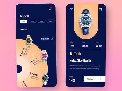 Watch Store - E-commerce App app interactive design innovative flat modern clean minimal clock app time rolex ecommerce app ecommerce watchonline watchshop watches watch