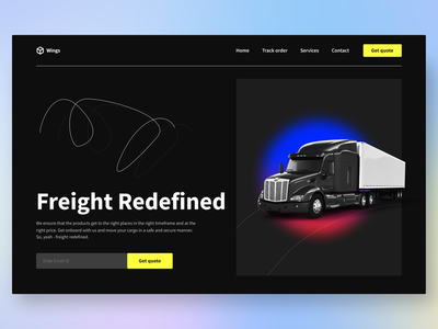 Wings - Logistics, Freight Services night mode dark ui clean 2d 3d minimal web webdesign freight management cargo consignment mover logistics company logistics container trucking truck freight forwarding freight