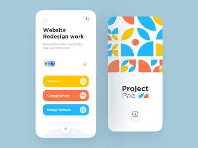Project Pad  - Mobile Project Manager 2021 trend app design 2d minimal pattern design splashscreen new project bauhaus100 bauhaus pattern art pattern task management task list task manager tasks project managment project manager project