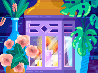 Purple Lantern flat illustration illustration flat pink violet purple vase roses plants monstera candles lantern