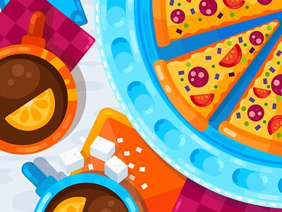 Pizza Time sugar table tea food illustration food pizza flat illustration vector flat illustration