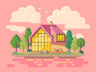 Barnhouse flat illustration village birds pink clouds vector figma nature house illustration flat barnhouse
