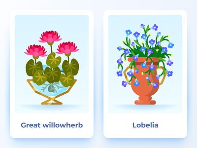 Terrarium: plants and decorations mobilegame game garden nature pots flowers plants vector flat flat illustration illustration