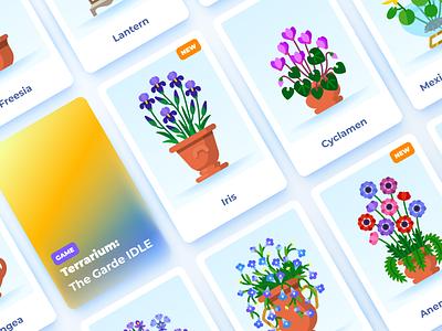 Terrarium: plants and decorations pots nature mobilegame game flowers plants flat vector flat illustration illustration