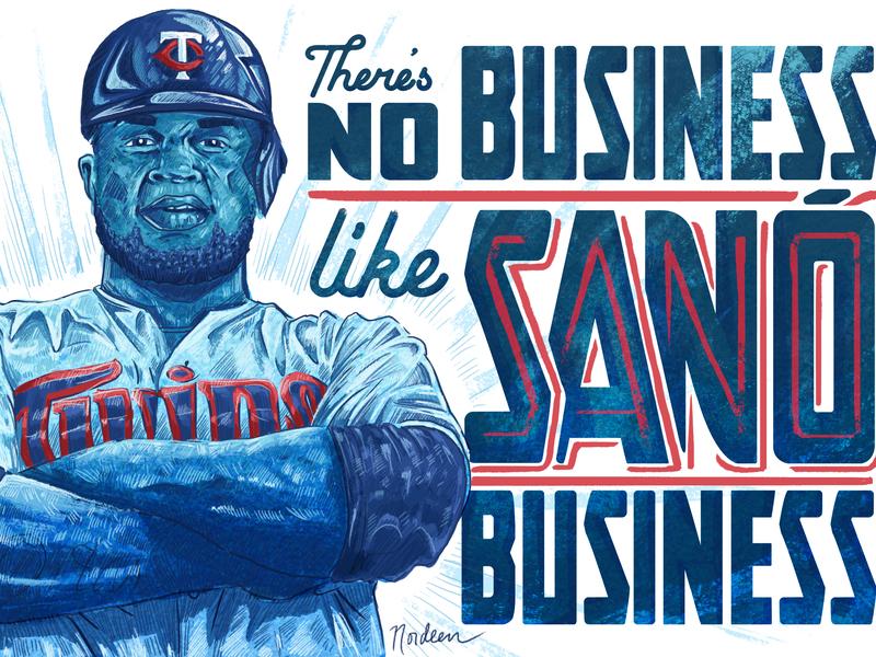 There's no business like Sano business. portrait twins sports digital pencil illustration baseball