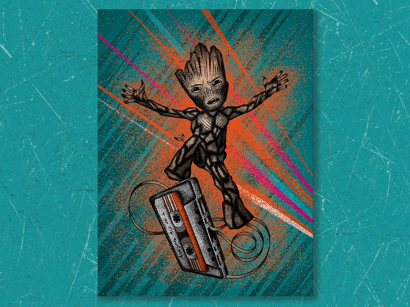 Baby Groot pop baby groot guardians of the galaxy movie illustration art texture jutastudio illustration