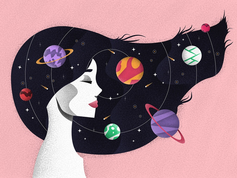 Space Woman portrait profile woman cosmos space planets stars geometric illustration art texture jutastudio illustration