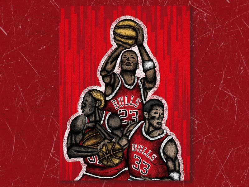 The Last Dance netflix the last dance chicago bulls dennis rodman scottie pippen michael jordan basketball basket illustration art texture jutastudio illustration