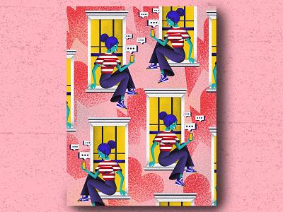 Windows love pattern windows pop minimal geometric illustration art texture jutastudio illustration