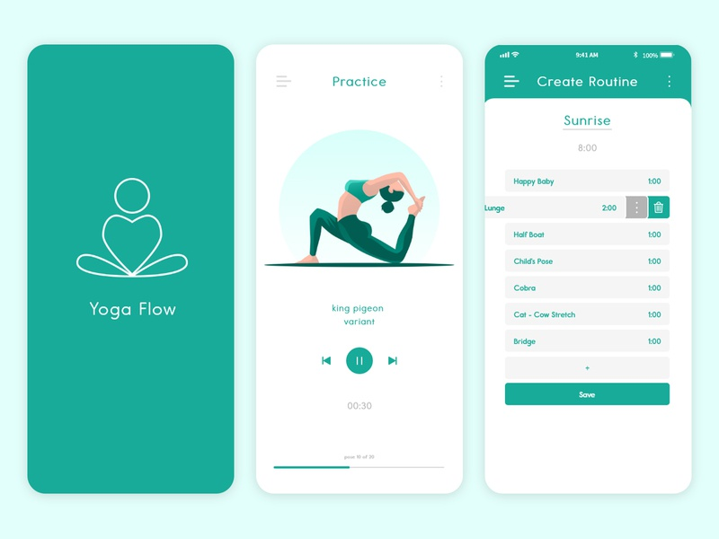 Yoga Flow logo app design clean minimal illustration icon adobe xd design product design yoga mobile ui application app