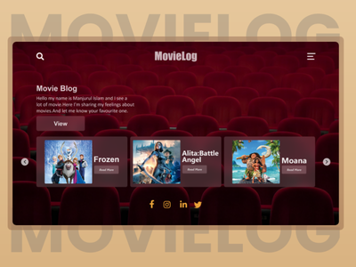 UI Concept for a Movie Blog uxdesign uidesign landingpage layout single page minimal web vector ui illustration