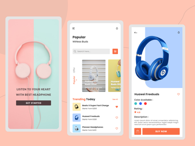 Headphone Gadget App appdesign vector uiuxdesign ux ui online store headphone gadgetapp gadget mobile app application ui illustration application app design uxdesign uidesign creative design clean ui minimal